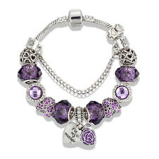 Purple Charm Bracelet Faceted Gem Beads Love Heart Flower Pendant Christmas Gift
