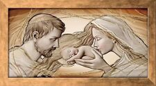 Quadro Sacra Famiglia sacro su pannello con cornice Capezzale Holy Kiss ® 113x63