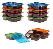 8 Meal Prep Containers 3 Compartment Plastic Bento Food Storage Set