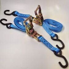 """Set of 2 -1"""" x 10' RATCHET TIE DOWN STRAPS FOR ATV Motorcycle Color Blue"""