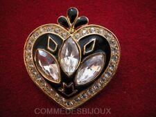 """Broche """"Coeur"""" Pépins Pomme N° 3 dorée Navette cristal Blanc - Bijoux pur Cadeau"""