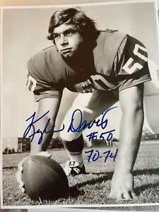 C Kyle Davis (1971-74) Signed Oklahoma Sooners B&W 8x10 Photo All American