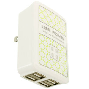 4 Port 3.1 Amp Fast Rapid Wall Home Travel AC Charger for Cell Phones Tablets
