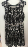 Ginger and Smart Stunning Size 14 Black And White Silk Party Or Cocktail Dress