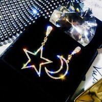 Vintage Crystal Asymmetric Star And Moon Earrings Women Jewelry Dangle Earrings