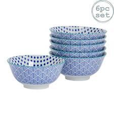 Patterned Cereal Bowl Porcelain Breakfast Bowls Geometric Modern Blue x6