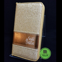 Biblia reina valera 1960 tamaño chequera dorado con ziper  compacta