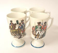 Set 4 1970s Fred Roberts Revolutionary War Soldier Pedestal Footed Coffee Mug