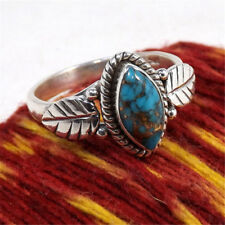 Vtg 925 Silver Turquoise Gemstone Anniversary Wedding Engagement Ring Size 5-12