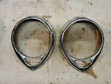 1937 1938 headlight bezels pair trim rings 1939 old chrome