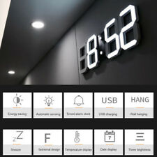 New Digital 3D LED Wall Clock Alarm Snooze Watch 12/24 Hour Display USB Modern