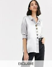 Native Youth Shirt Blouse Top Size 8 14 22 Relaxed Fit Silver Shimmer Satin GX38