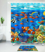 Fish in Deep Sea Nautical Shower Curtain Liner Bathroom Waterproof Bath Mat Rug