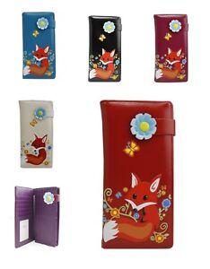 UK New Women's Ladies Girls Fox Pattern Trifold Long purse wallet Card Holder
