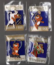 Lot de 4 pin's / Mascotte des jeux olympiques de Séoul 88 Hodori (neufs scellés)
