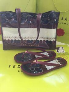 Ted Baker Designer Icon Bag Flip Flops Set medium Uk 6