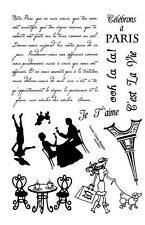 "Paris 8"" x 5"" unmounted rubber stamp sheet, French, France #22"