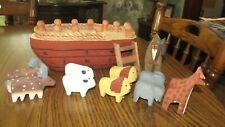 "Folk Art 13 Piece Carved Wood 11"" Noah's Ark Animal Toy Giraffe Lion Sheep Moose"