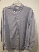 Polo Ralph Lauren L/S Dress Shirt Yarmouth White Blue Tan Mens Sz 16.5 36/37