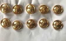 Lot of 10 Russian Navy Uniform Gold tone Metal Buttons 14mm Anchor with Rope