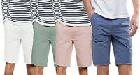 Mens Threadbare Summer Designer 100% Cotton Raw Hem Chino Shorts