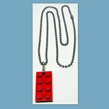 3 Nickel Plated Ball Chain Necklaces with a Red LEGO 2x4 Plate Pendant