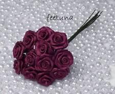 12 Diorröschen Satinröschen Rosen Hochzeit bordeaux Kopfschmuck 1Bund