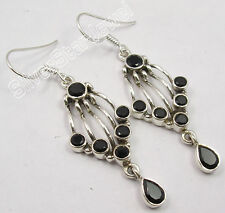 """925 PURE Silver Dazzling BLACK ONYX Gem DESIGNER WELL MADE Earrings 2"""" NEW"""