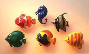 5 Fish +1 Seahorses For Water Columns New Set 1