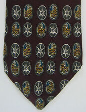 Metropolitan Museum Art Mens Neck Tie Necktie Silk Ovals Star Burgundy Gold Blue