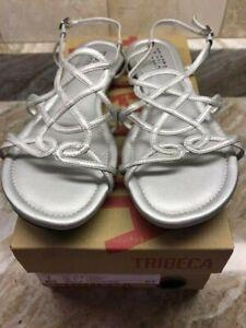 TRIBECA Silver Women's Sandals Flats New US Sz 7 M / Euro 37.5