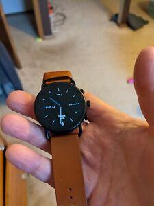 skagen falster 3 - Wear OS - black case with brown leather strap