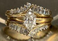 2.00 Ct Marquise Cut Diamond Engagement Wedding Ring Set 10k Yellow Gold