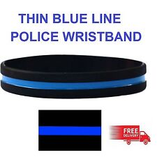 Thin Blue Line Remembrance Silicon Wristband - Adult Size - UK Seller