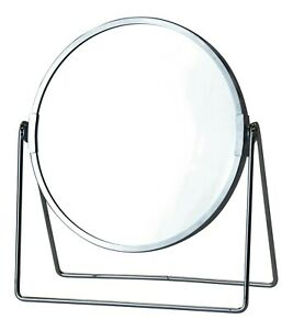 Double Sided Mirror - Magnified x 3 Metal Round Chrome Makeup Mirror On Stand