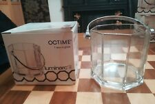 BOXED VINTAGE LUMINARC OCTIME FRENCH GLASS ICE BUCKET WITH CHROME HANDLE C.1986