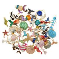 20PCS Colorful Enamel Shell Fish Sea Series Random Charms Pendant DIY Jewelry