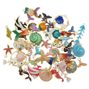 20PCS Colorful Enamel Shell Fish Sea Series Random Charms Pendant DIY Jewelry