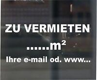 """Aufkleber Schriftzug """"ZU VERMIETEN"""" mit ihren Angaben Schaufensterbeschriftung"""