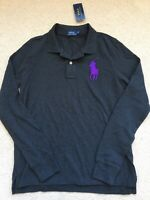 NWT Women's Polo Ralph Lauren Black Long Sleeve Big Pony Shirt Sz L $115