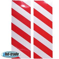 2x Warntafel rot weiss Streifen reflektierende Reflektor Aufkleber 30 x 10cm M2