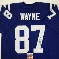 Autographed/Signed REGGIE WAYNE Indianapolis Blue Football Jersey JSA COA Auto
