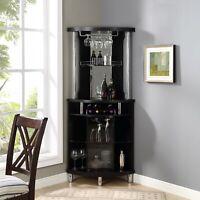 Home Bar Cabinet Wine Storage Liquor Rack Stemrack Pub Black Corner Furniture
