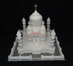 """8 """" Marbre Taj Mahal Super Fin Main Sculpté Joliment Filigranes Travail Cadeaux"""