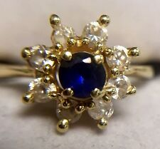 14K SOLID YELLOW GOLD SAPPHIRE BLUE STONE AND CZ FLOWER RING SIZE 6.25