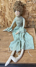 Vintage 1920-30's Bed Boudoir Doll Hand Painted Face Long Limbs Original Dress