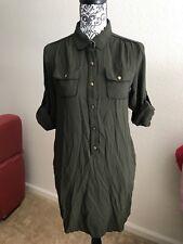BANANA REPUBLIC Shirt Dress OLIVE ARMY GREEN Button Down size 2 XS S