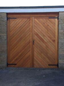 TIMBER HERRINGBONE GARAGE DOORS 'BECKINGTON' BESPOKE SIZES IN CEDAR