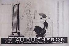 PUBLICITÉ 1925 AU BÛCHERON - L'ESSAYAGE - MAGASIN DU MEUBLE - ADVERTISING