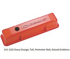 Proform 141-120 Small Block Chevy Tall Orange Aluminum Valve Covers Chevy Logo
